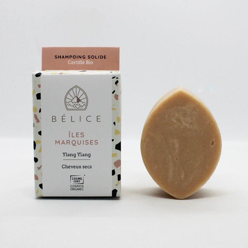 Shampoing Solide Bio à l'Ylang-Ylang pour Cheveux secs - Îles Marquises - 85g - Bélice