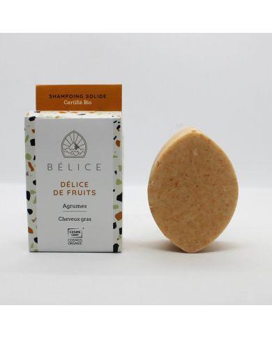 Shampoing Solide Bio pour Cheveux gras - Délice de fruits - 85g - Bélice