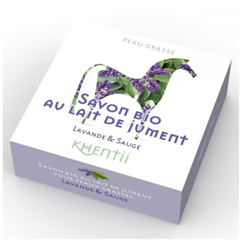 Savon Lait de Jument FRAIS BIO (40%) - Lavande & Sauge - 100g - Khentii