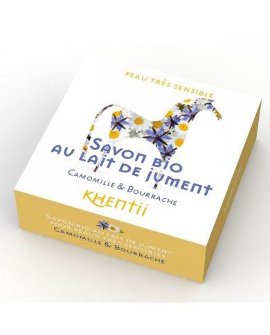 Savon Lait de Jument FRAIS BIO (40%) - Camomille & Bourrache - 100g - Khentii
