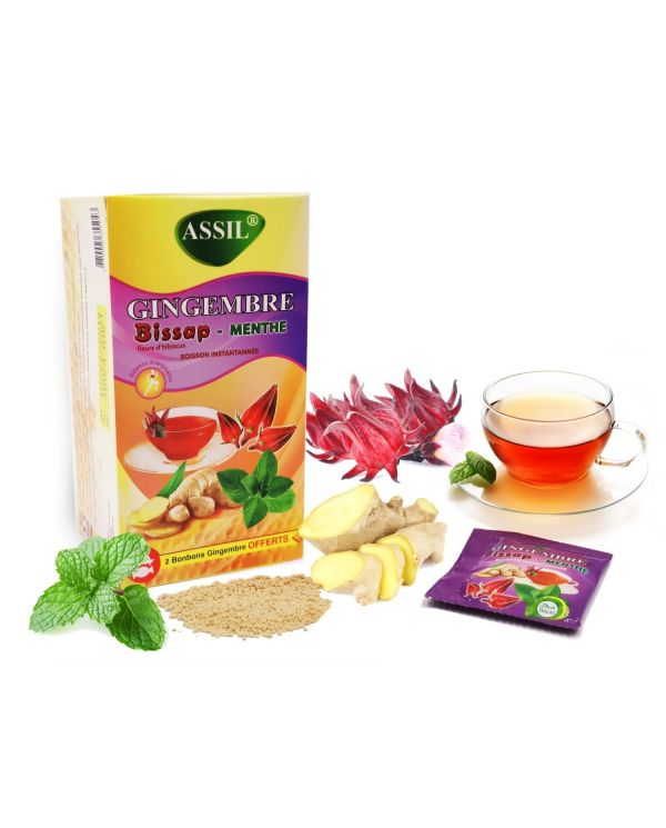 Tisane Gingembre Bissap (Fleurs d'Hibiscus) et Menthe - 100% Naturelle - ASSIL