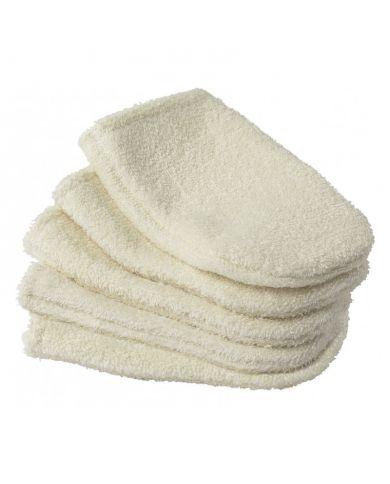 Lot de 5 petits gants à démaquiller en coton bio écru - Turbaneo