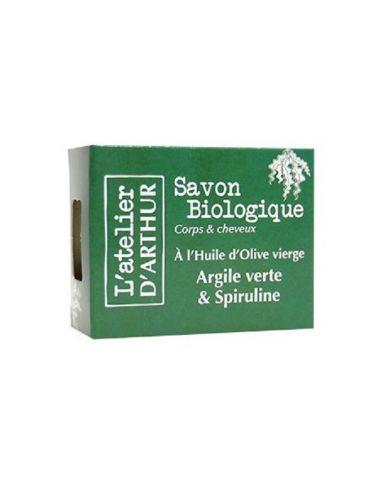 Savon à l'huile d'Olive Bio - Argile Verte et Spiruline - 100g - L'Atelier d'Arthur