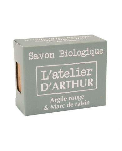 Savon à l'huile d'Olive Bio - Argile Rouge et Marc de Raisin - 100g - L'Atelier d'Arthur