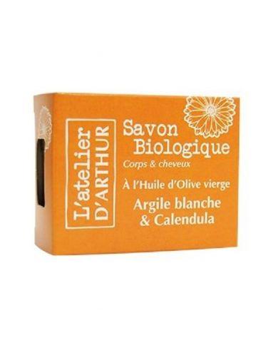 Savon à l'huile d'Olive Bio - Argile Blanche et Calendula - 100g - L'Atelier d'Arthur