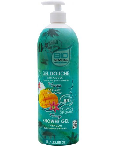 Gel Douche Bio à la Mangue extra doux - 1L - Bio Seasons