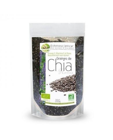 Graines de Chia Noires Bio - Sans Gluten - 200g ou 600g - Ethnoscience (ÉCOIDÉES)