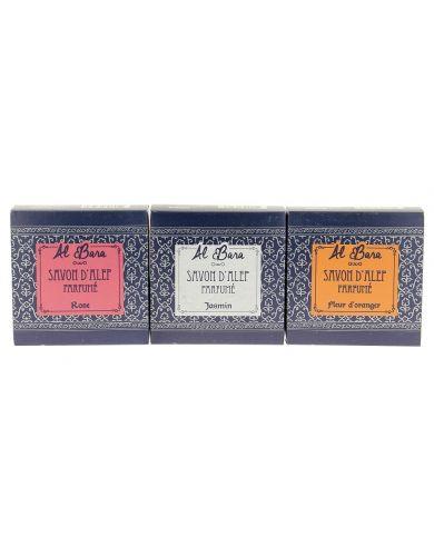 Coffret 3 Savons d'Alep Parfumés (Fleur d'Orange, Jasmin & Rose de Damas) - 100% Naturels - 3 x 100g - Al Bara