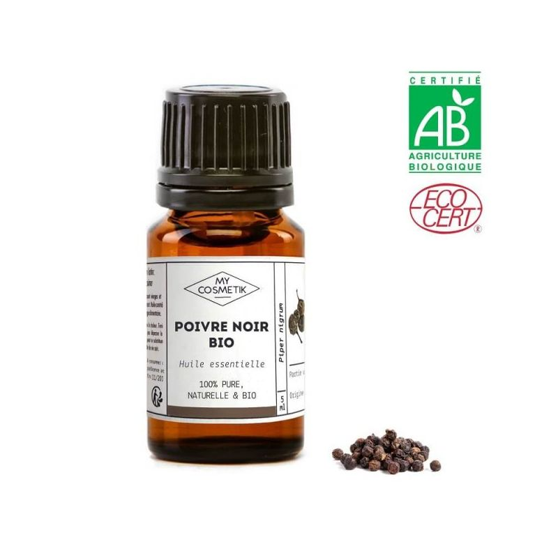 Huile essentielle de poivre noir BIO (AB) 10 ml - MyCosmetik